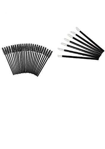 ALINCAS 1000 Pcs Disposable Eyelash Mascara Wands Applicator (Black) + 1000 Pcs Lipstick Gloss Wands