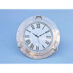 Brushed Nickel Deluxe Class Porthole Clock 20 - Nautical Wall Clock - Clock De