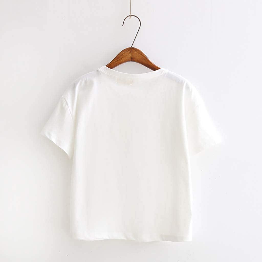 GridNN Women Summer Blouse Fashion Womens Loose Short-Sleeved Print T-Shirt Casual O-Neck Top