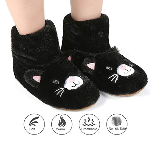 Indoor Cat Slippers Sock Cozy Grippers Booties for Black Lined Non with Panda Fuzzy Socks Slip Women Bros Slipper Warm q1PUA1