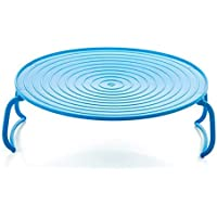 Multifunction Microwave Oven Shelf Double Insulated Heating Tray Rack Kitchen Accessories-Blue