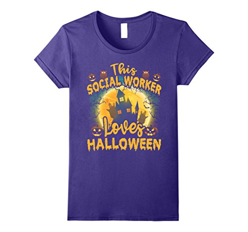 Womens Halloween T Shirt - This Social Worker Loves Halloween. Small Purple (Co Worker Halloween Costume Ideas)