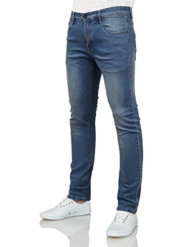 IDARBI Mens Basic Casual Color Skinny Cotton Twill Pants WASHBLUE 30/30