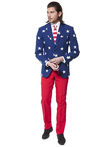 OppoSuits Men's Stars and Stripes Party Costume Suit, Blue/Red/White, 38 (Red White And Blue Flag With One Star)