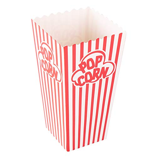 Popcorn Containers Boxes - Striped White and Red Paper - for Home Movie Theater - Set of 100 -