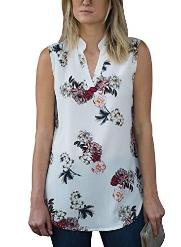 Ku-lee Womens Sleeveless Floral Print Sexy V Neck Tank Tops S-XXL White
