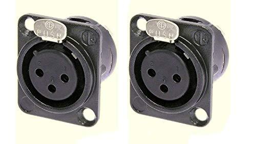 2 Pack New Neutrik NC3FD-L-B-1 3-Pin Panel Mic XLR Female Black/Gold Solder Cups