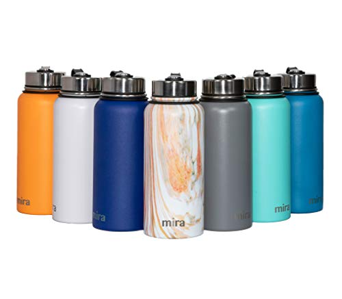 MIRA 32 Oz Stainless Steel Vacuum Insulated Wide Mouth Water Bottle | Thermos Keeps Cold for 24 Hours, Hot for 12 Hours | Double Wall Powder Coated Travel Flask | ()
