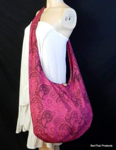 Paisley Print Crossbody BTP Hippie Hobo Pl18 Messenger Pink Cotton Hot Thai Sling Purse Large Bag qBqUazgr