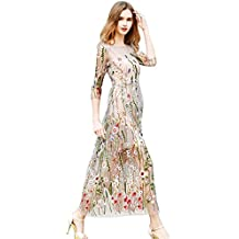 Sunsent Womens Sheer Embroidered Floral Cocktail Dress with Cami Dress