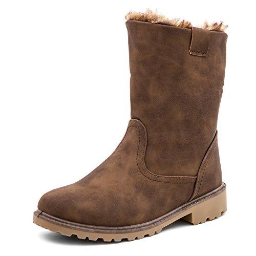 Damen Stiefel Stiefeletten Worker Boots in hochwertiger Lederoptik warm gefüttert - auch in Übergrößen Khaki