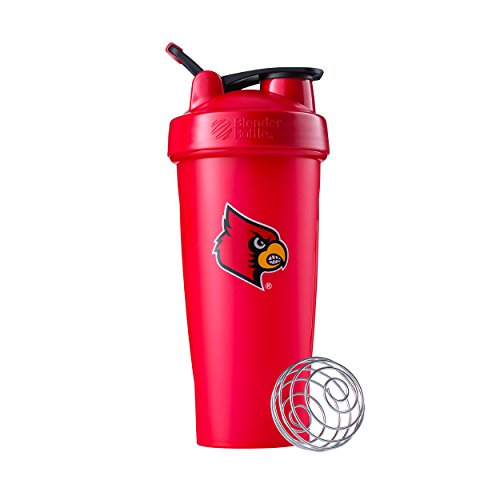 BlenderBottle Collegiate Classic 28-Ounce Shaker Bottle, Louisville Cardinals - Red/Red (Louisville Cardinals Car)