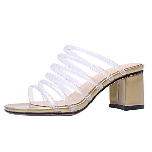 Coolcept Women Block Heel Mules Sandals Golden hi0Zmw5t