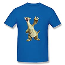 Moonist Men's Ice Age 5 Collision Course Sid T-Shirt - Funny Sayings T Shirt RoyalBlue US Size L