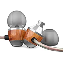 TNSO Premium Genuine Wood Corded in-Ear Headphones Earbuds Heavy Bass Noise Cancelling Earphones with Microphone (Brown)