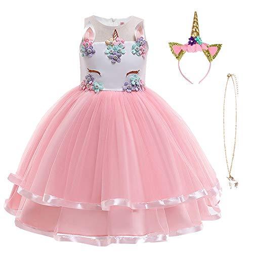 URAQT Eenhoorn Kostuum, Prinses Eenhoorn Jurk Fancy Dress met Ketting, Hoofdband voor Kinderen & Peuters Verjaardag…