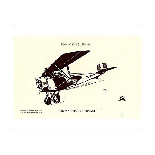 10x8 Print of Types of British Aircraft -- The Nieuport Biplane (Nieuport Type)