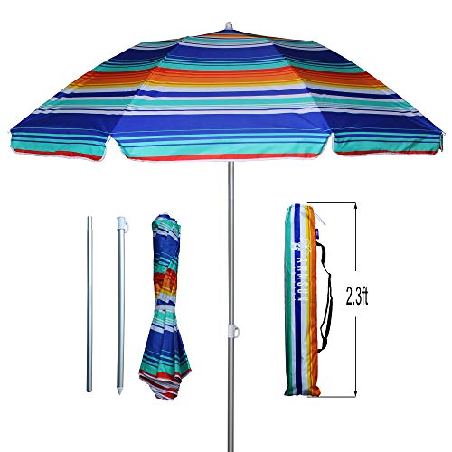 AMMSUN 6.5ft Two Folded Patio Beach Umbrella for Sun and Outdoor with Metal tilt Portable Cabana Silver Coating Inside with 99% UV Protection Stripe Blue