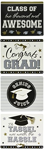 Stick On 2-Liter Bottle Graduation Labels for Black, Silver and Gold Party Theme, Plastic, 7