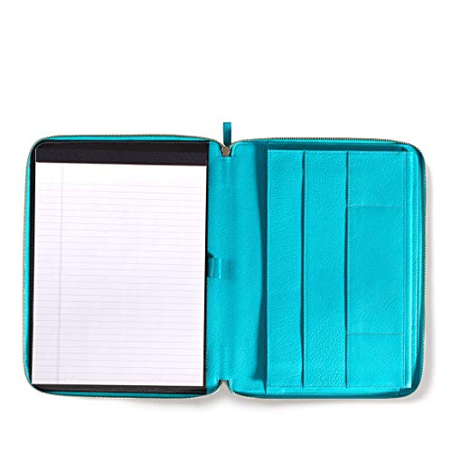 Leatherology Left Handed Executive Zippered Portfolio - Full Grain Leather Leather - Teal (Blue) by Leatherology (Image #8)