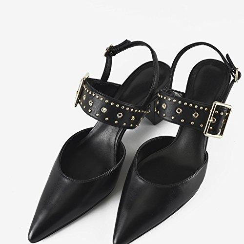 Jqdyl High Heels Fruuml;hling neue spitzen flachen Mund Schuhe Nieten mit Frauen Schuhe Wort mit High Heels dicken Absatz Sandalen  39 black