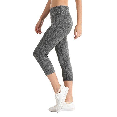 YIDAINLINE Women Yoga Capri Pants High Waist Tummy Control Workout Running Capri Leggings with Inner Pocket(Medium,Light Gray)