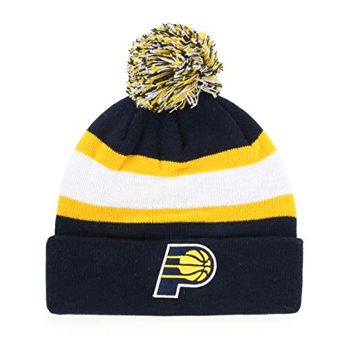 OTS NBA Indiana Pacers Male Rush Down Cuff Knit Cap with Pom, Navy, One Size