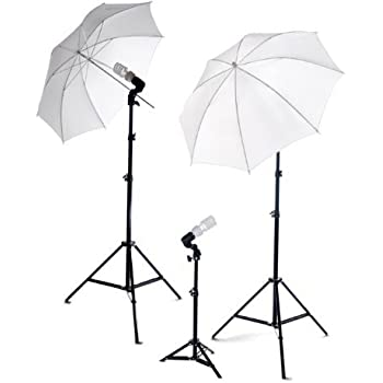 ePhoto Dk3 600 Watt Continuous Lighting Kit with 2 each 7 Foot Light Stands with 32-Inch Umbrellas and 3 45 Watt 5500K Bulbs
