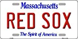 RED SOX Massachusetts Novelty State Background Vanity Metal License Plate Tag Sign