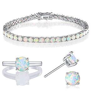 GEMSME 18k White Gold Plated Opal Tennis Braceelet/Earrings/Rings Created Jewelry Sets for Women (5)