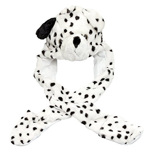 Plush Animal Hat w/Built-In Mittens (Long - Hat Dalmation