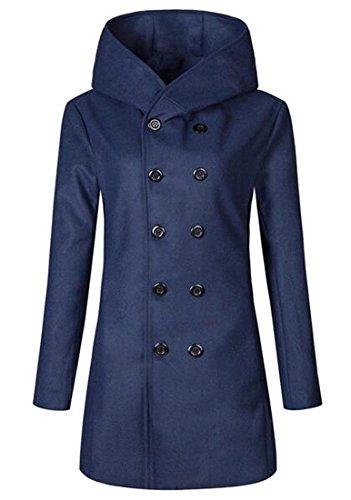 Oberora Mens Winter Warm Double Breasted Slim Wool Hooded Pea Coat Navy Blue (Hooded Wool Peacoat)