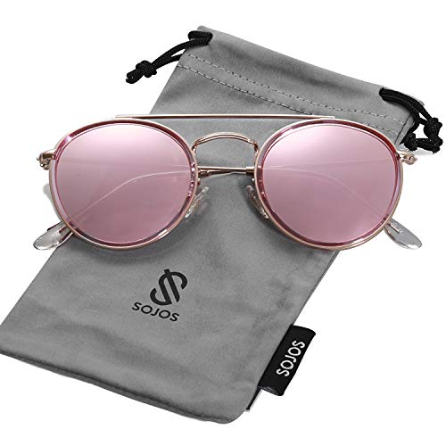 (SOJOS Small Round Polarized Sunglasses Double Bridge Frame Mirrored Lens SUNSET SJ1104 with Rose Gold&Transparent Pink Frame/Rose Gold Mirrored Polarized Lens)