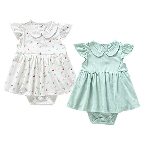 (Zanie Kids Baby Girl's Short Sleeves Print Dresses Cotton Cute Baby Clothes, 2-Pack, Mint Green & Feather, 3-6)