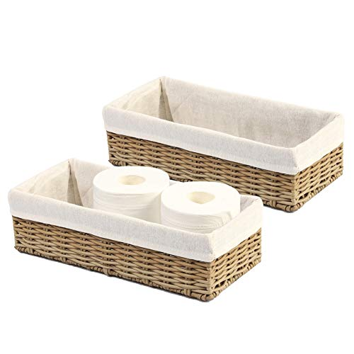 HOSROOME Bathroom Storage Organizer Basket Bin Toilet Paper Basket Storage Basket for Toilet Tank Top Decorative Basket for Closet, Bedroom, Bathroom, Entryway, Office