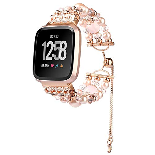 Nargar Strap for Fitbit Versa Lite Beaded Bracelet Diamond Crystal Bangle Jewelry Elegant Pearl Tassel Watch Band Three Round Beaded Replacement Wristband for Women (Pink)