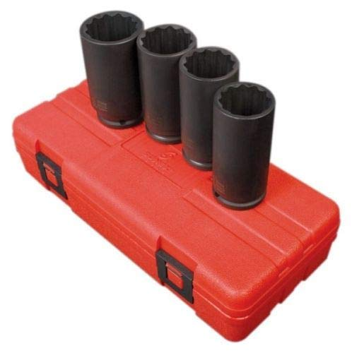 Sunex 4pc 1/2 Drive Metric Deep 12 Point Axle Nut Impact Socket Set Spindle 2837 ()