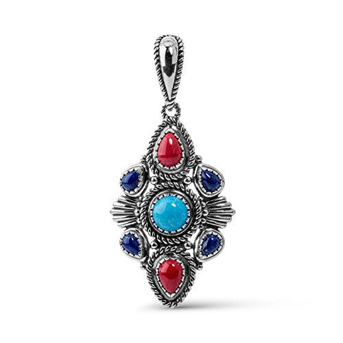 american-west-genuine-925-sterling-silver-turquoise-lapis-red-coral-pendant-enhancer