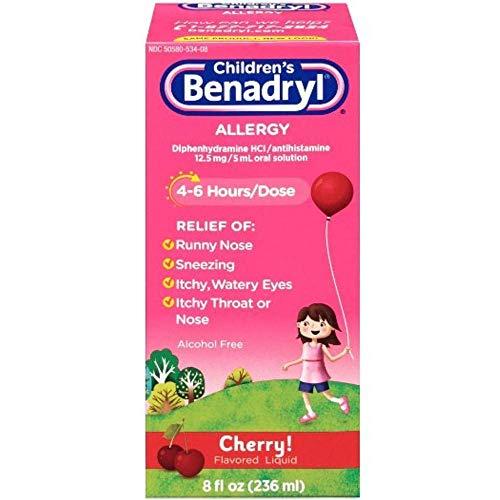 [베나드릴 베네드릴] Children's Benadryl Allergy Liquid Cherry 8 oz [미국 알러지약]