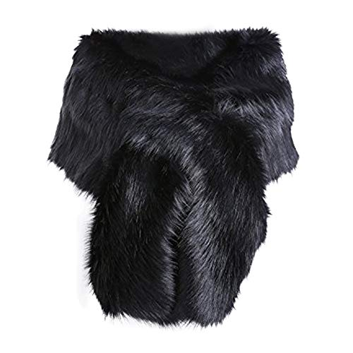 Women Long Faux Fur Shawl Bridal Stole Cover Up Winter Soft Bolero Scarf Black