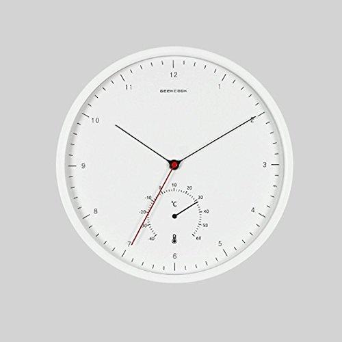温度計とクリエイティブシンプルなリビングルームのベッドルームオフィスミュート時計ウォッチクォーツウォールクロックウォールクロッククロッククロック (色 : 白) B07DS4CLMS 白 白
