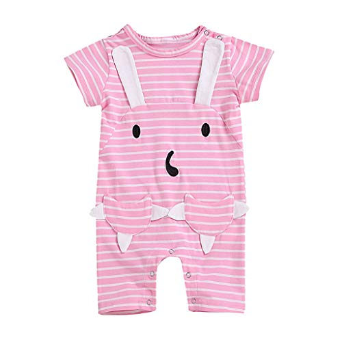 Conrad Stripe - Mysky Fashion Summer Baby Kids Children Stripe Print Cute Cartoon Rabbit Short Sleeves Romper Jumpsuit Pink