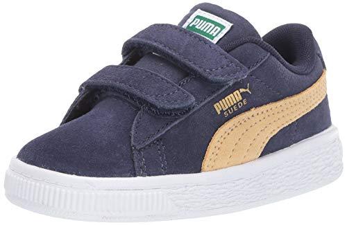 Kids Taupe Apparel - PUMA Unisex Suede Classic Velcro Sneaker, Peacoat-taos Taupe, 3 M US Little Kid