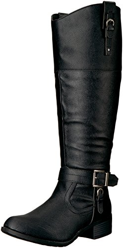 Rampage Women's Ivelia Fashion Knee High Casual Riding Boot, Black Wide Calf, 6 M US (Black Pump Calf Boot)