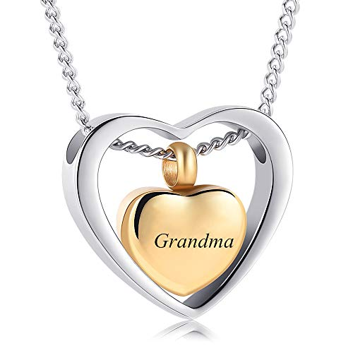 Yinplsmemory Cremation Ashes Jewelry Double Heart Urn Necklace for Ashes Keepsake Memorial Pendant Urn Lockets for ashes for Loved One(Grandma)