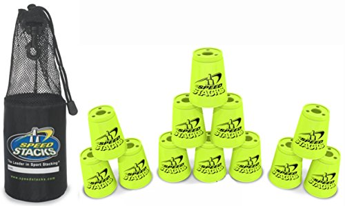 "Set of 12 Speed Stacks Competition 4"" Neon YELLOW Cups with Carrying Bag"