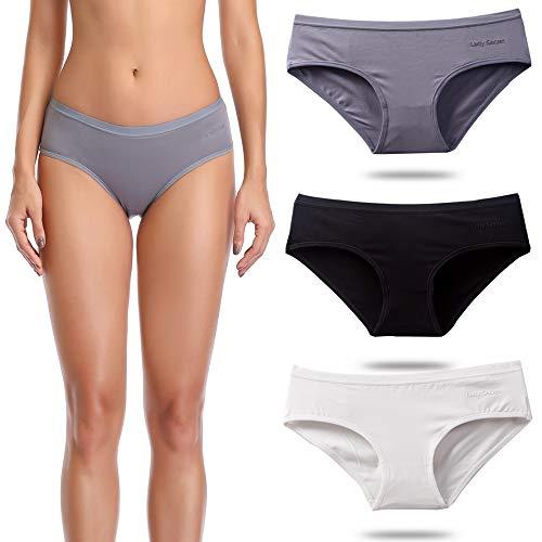 OUXBM Women's Underwear Cotton Bikini Panties Low Rise Hipster Panty Pack Black Color (3 Pack (Black,White,Dark Grey), Large (7))