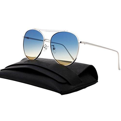 VIVIENFANG Oversized Double Bridge Aviator Sunglasses Metal Frame Mirrored Fashion Shades 87241C Silver