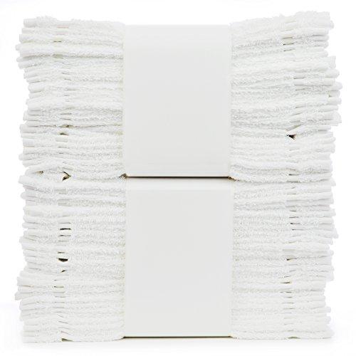 Bare Cotton #1 White Wash Cloths, 100% Natural Cotton, 12 x 12, Commercial Grade, 24-Pack ()