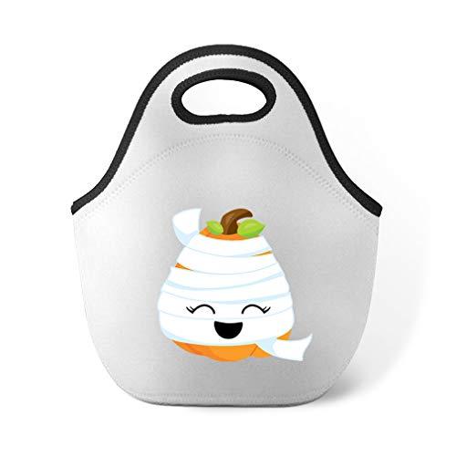 Halloween Pumpkin Mummy Neoprene Lunch Bag Insulated Food -